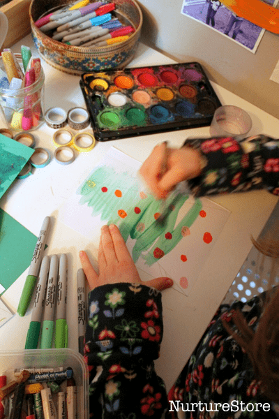 watercolor christmas tree craft