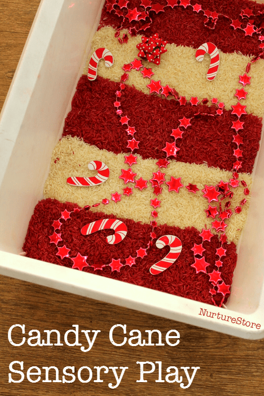 Candy cane sensory play for christmas