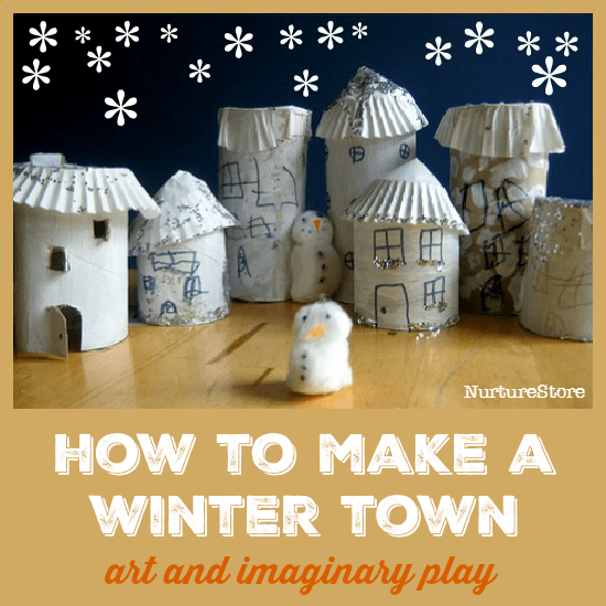 This little 'Let It Snow' winter town is such a delight to make, and it's great for winter imaginary play.