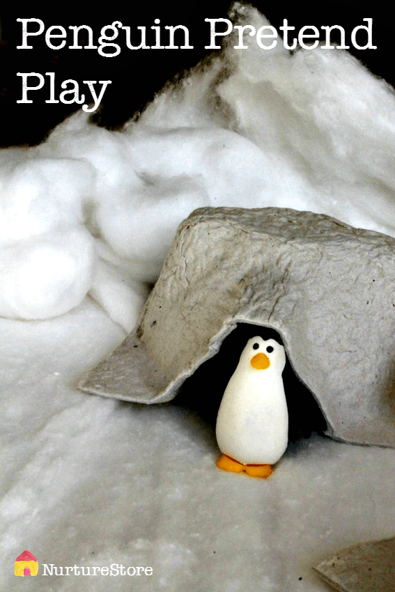 Penguin pretend play - great winter sensory play idea