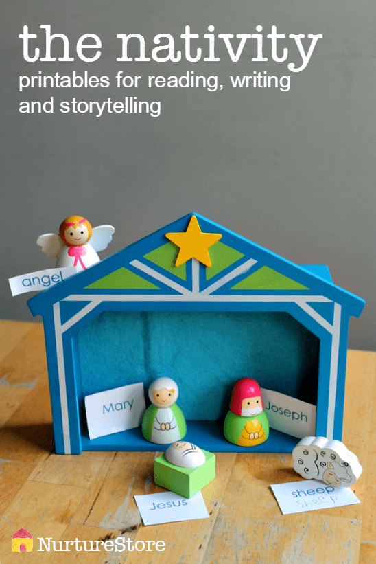 the nativity printables for reading, writing and storytelling. Great addition to advent activities for kids or to go along with Jesse tree activities