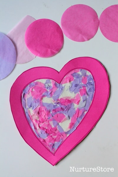 contact paper hearts Valentine craft