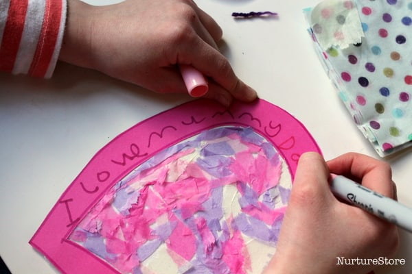 mess free valentine craft for kids