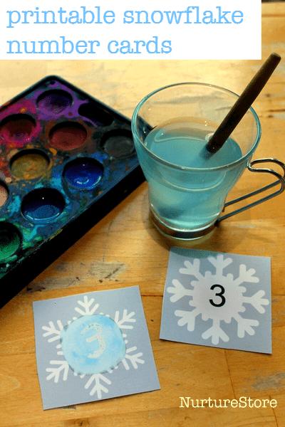 free snowflake printable number cards - great math printable, alphabet cards printable too