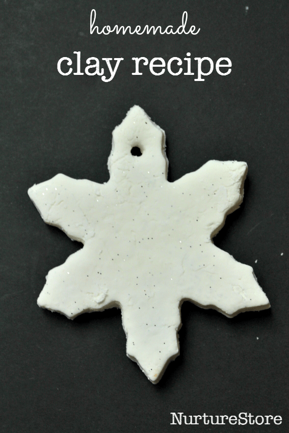 homemade white clay recipe and beautiful snowflake mobile craft