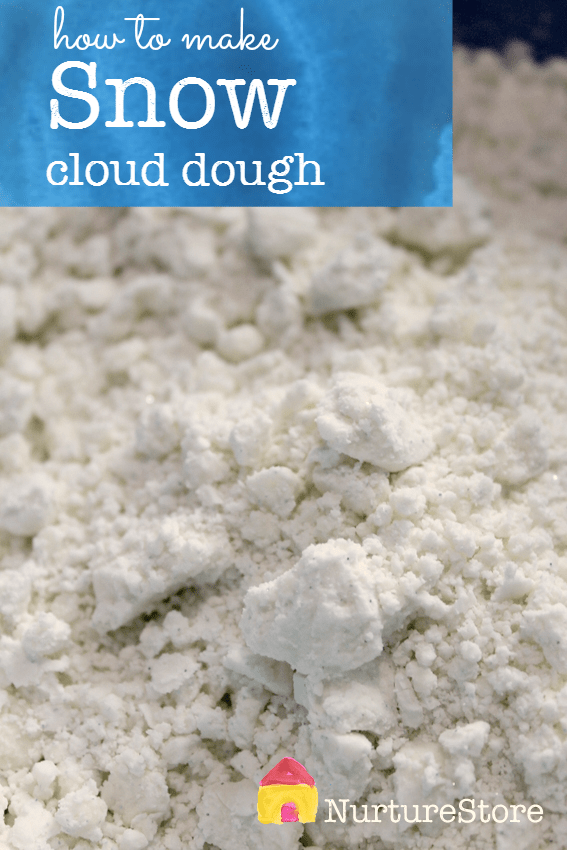 how to make snow cloud dough recipe - great for winter sensory play