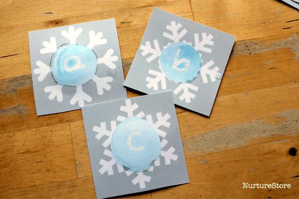 printable alphabet cards snowflakes