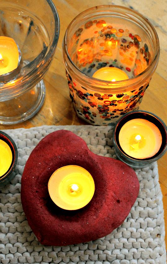salt dough candle holder