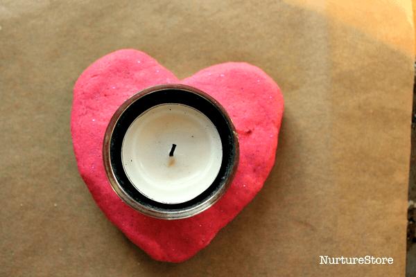 salt dough candle holders valentine craft