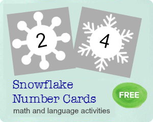 Free snowflake printable for math and language activities