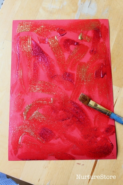 painting with glitter glue