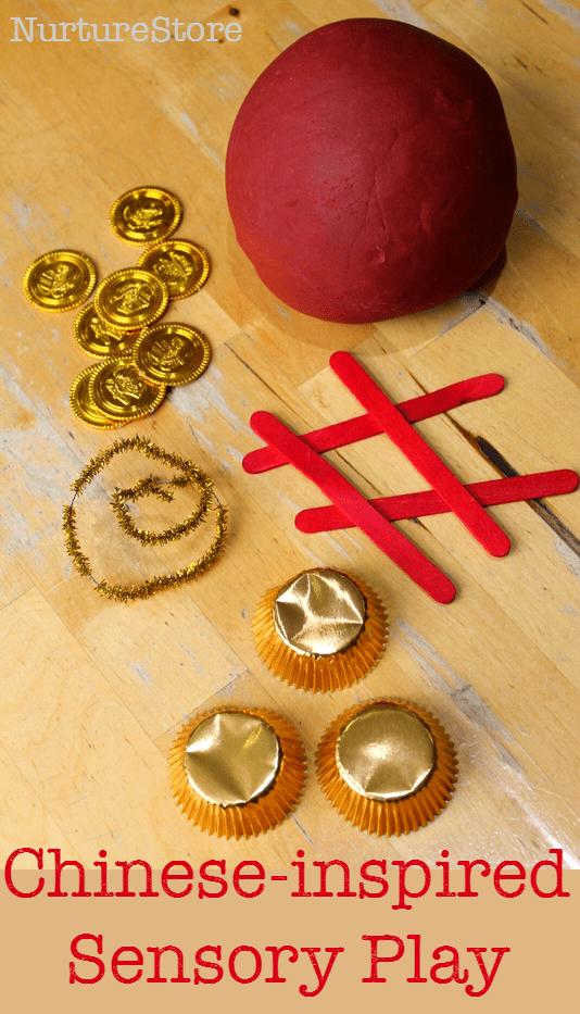 Chinese New Year sensory play with playdough