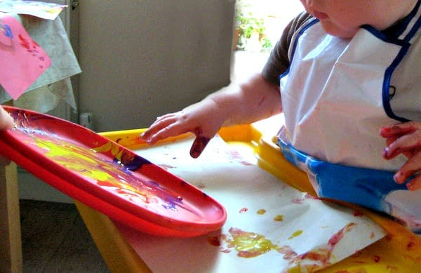 baby finger painting spring craft