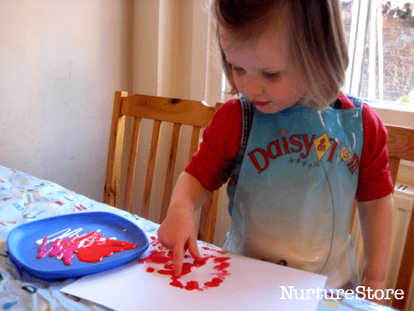 spring finger painting craft toddlers