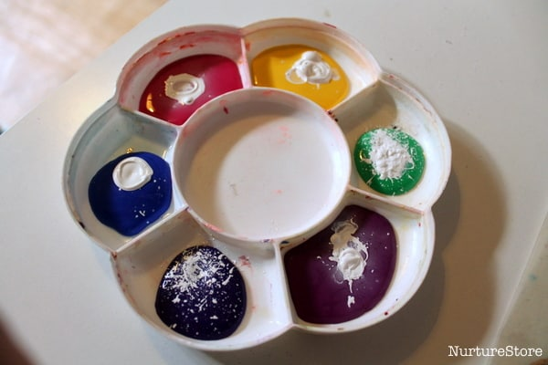 mixing paints for spring craft