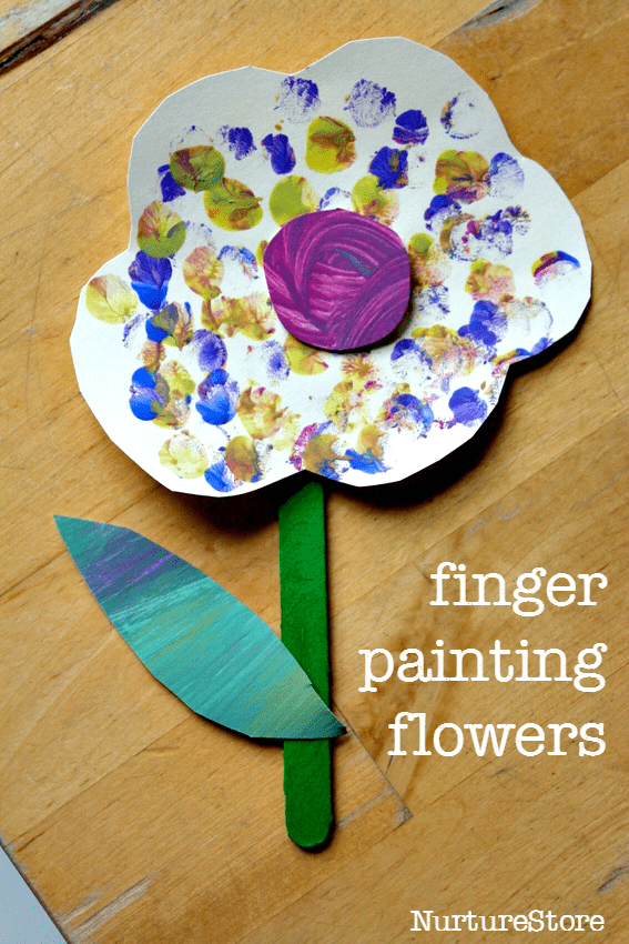 Sweet finger painting flower craft for toddlers