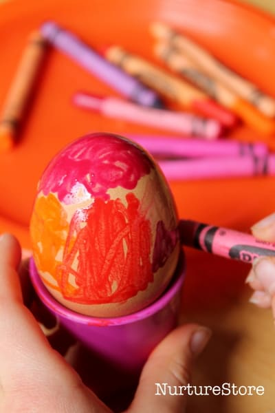 wax crayons on easter eggs