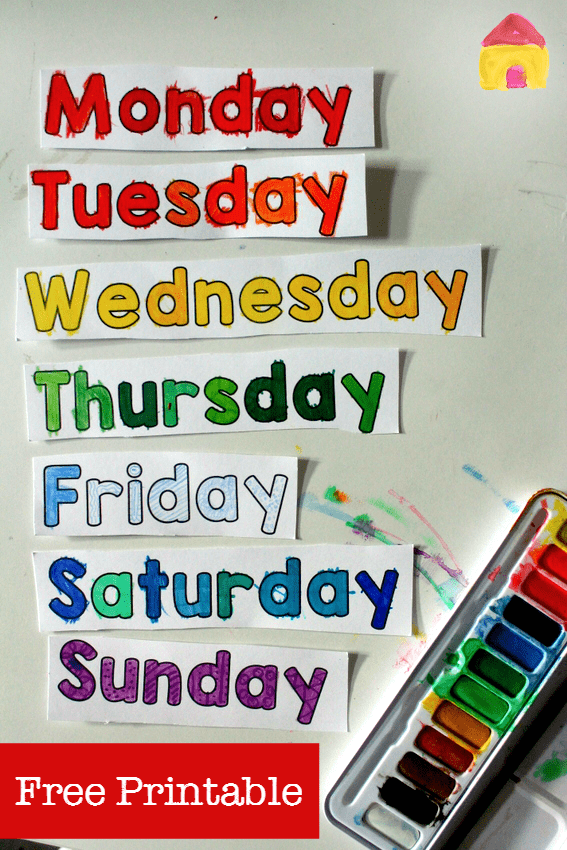 color in days of the week printable