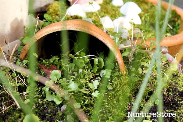 flower pot houses in a fairy garden