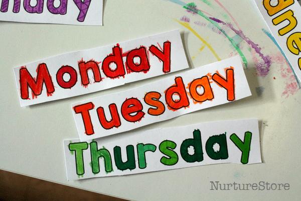 Number Names Worksheets days of the week printable : Free days of the week printable spinner - NurtureStore
