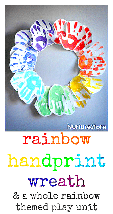 Beautiful rainbow handprint wreath craft, plus a whole unit of rainbow-themed activities