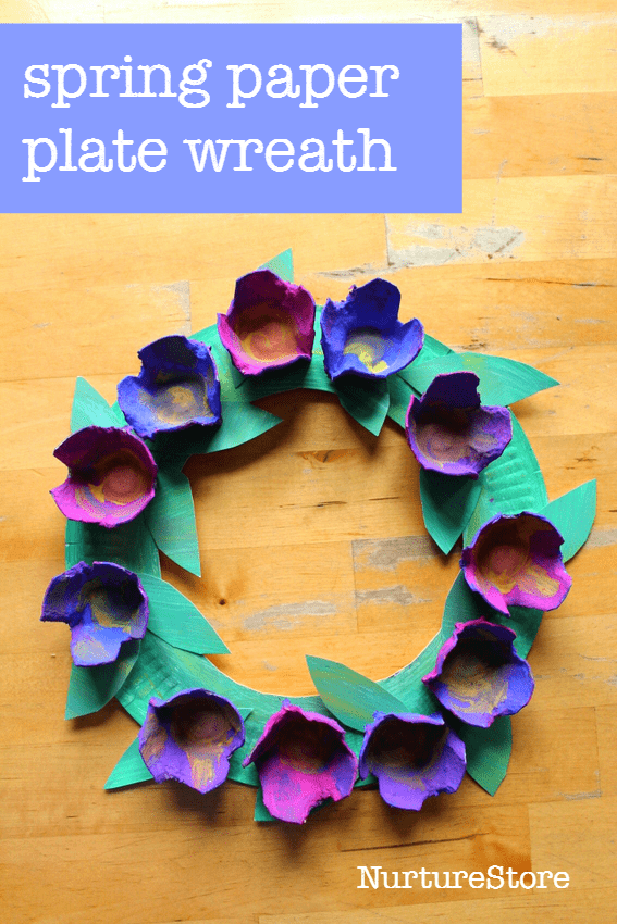 Easy spring flower paper plate wreath for preschool or toddlers - or older kids!