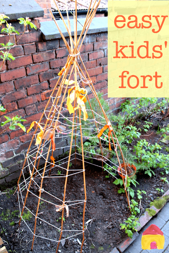 So easy to make :: kids backyard fort :: make a bamboo teepee :: easy den for kids