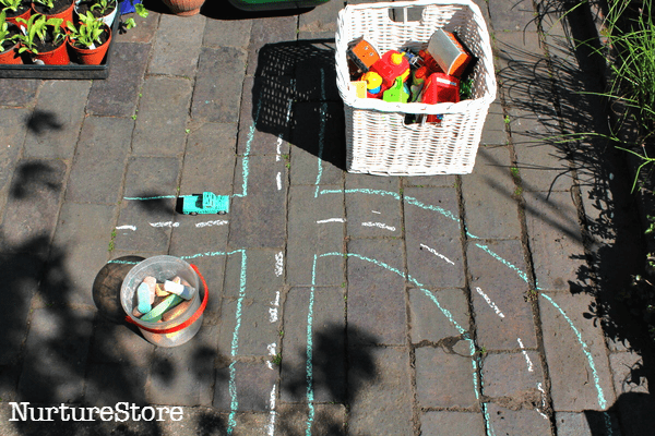 chalk play town in the garden