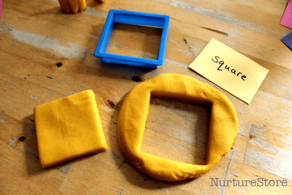 learning about squares with play dough