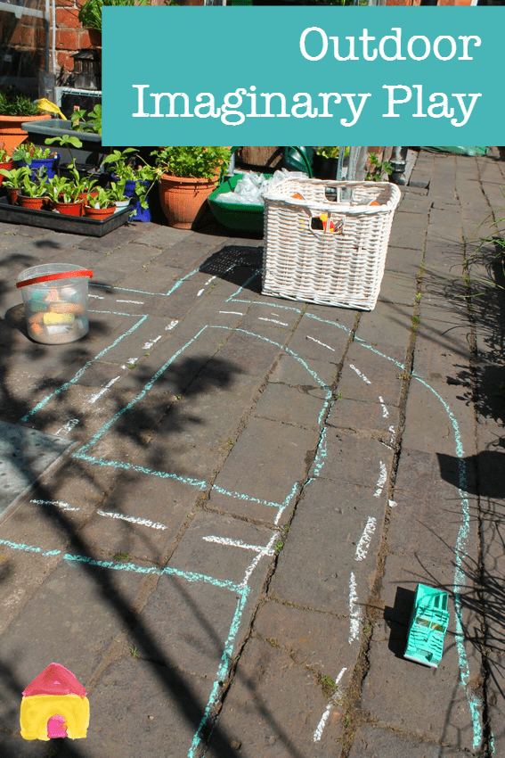 Brilliant outdoor imaginary play using chalk - quick, simple and fun!