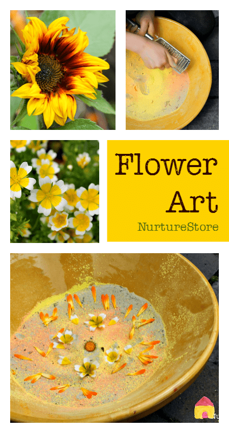 Combine nature study, art and sensory play with a flower art invitation to play
