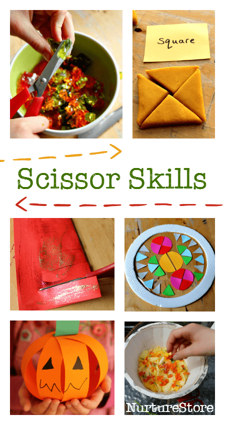 scissor skills practise activities :: cutting practise :: learning to use scissors