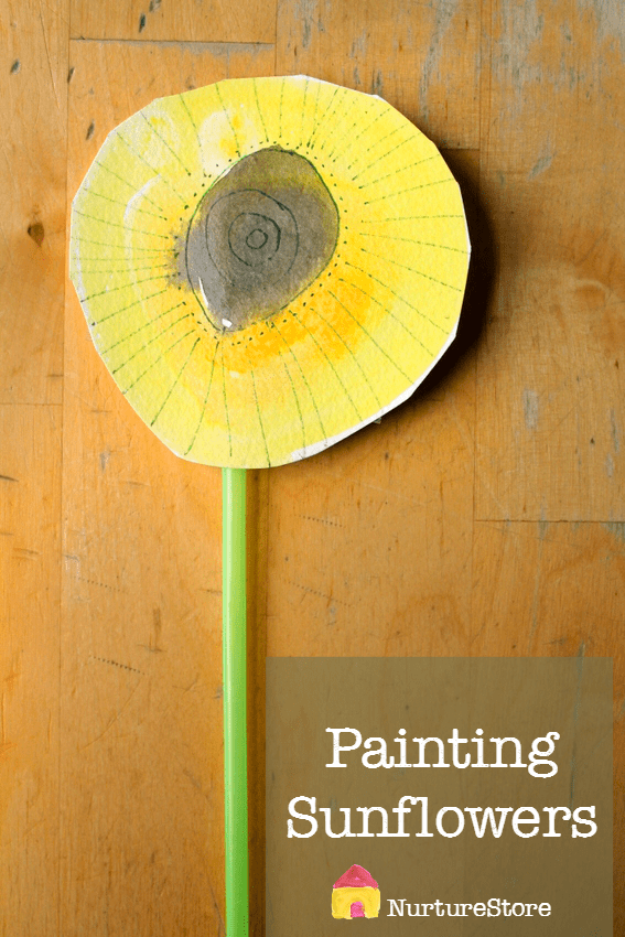 Bueatiful idea for painting sunflowers, plus ideas for learning about sunflowers :: sunflower craft for children