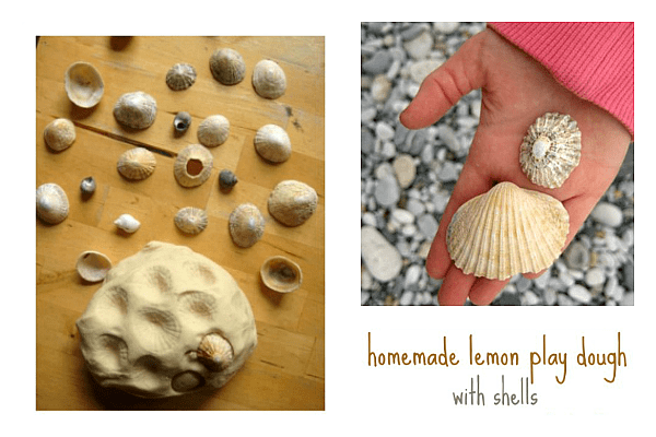 shells and play dough printmaking activity