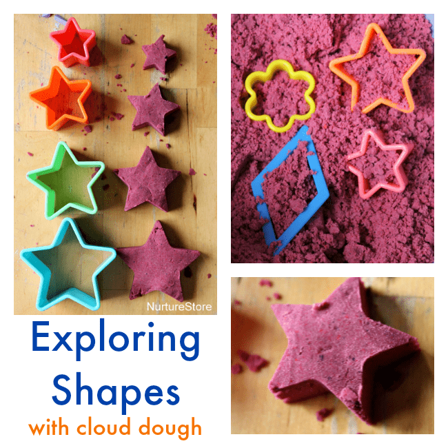exploring shapes with cloud dough