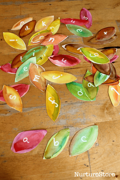 leaf theme alphabet sorting games