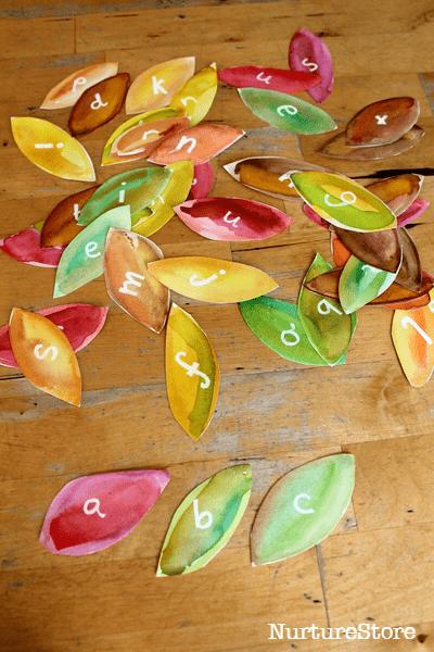 leaf theme alphabet sorting games