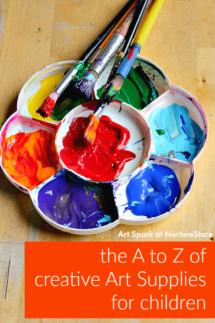 How to set up art supplies for childern to encourage creativity - includes art supplies on a budget and a free printable poster of the a to z of creative art supplies for kids