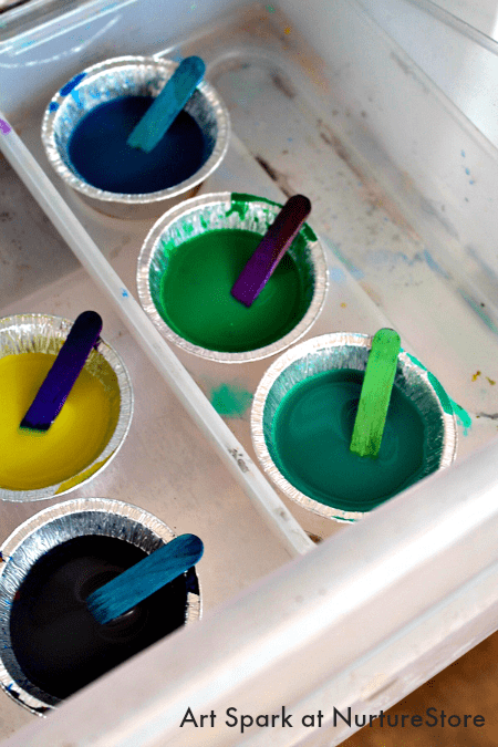 Sensory play ice painting with frozen paint nurturestore - What temperature is too cold to paint outside ...