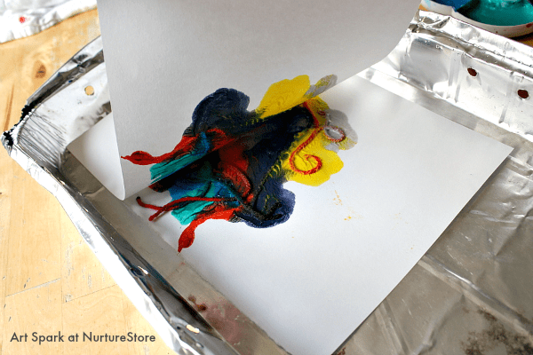 kids art printing with wool