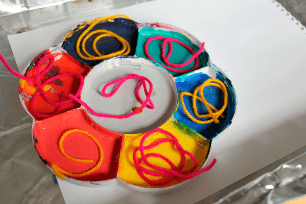 process art painting with yarn