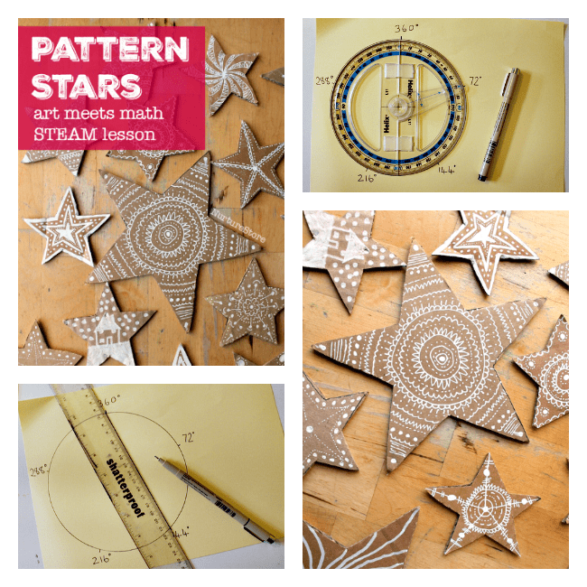 Combining math and art to make gorgeous pattern stars is a great STEAM lesson plan.