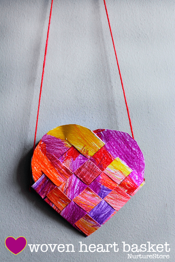 traditional woven heart basket craft
