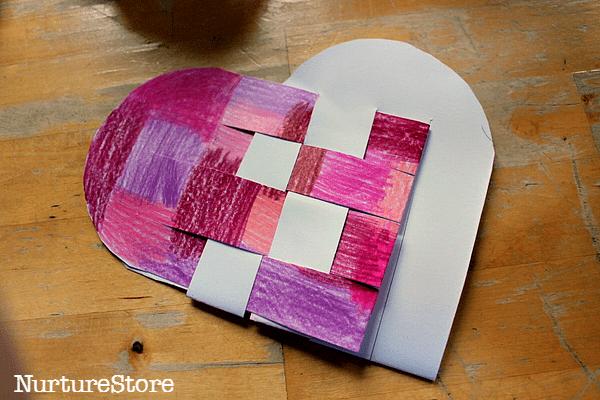 woven paper heart basket craft