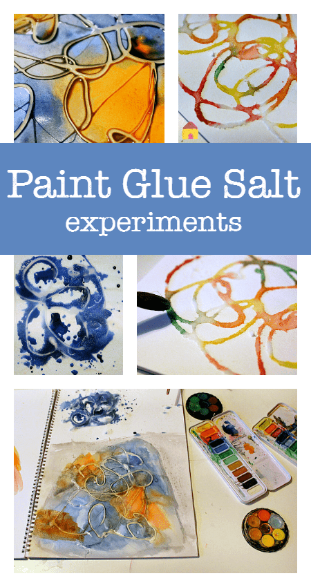Paint glue salt process art experiments