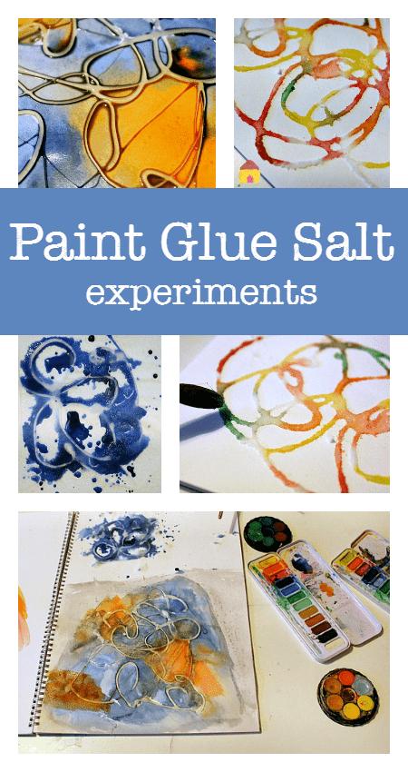 Paint glue salt process art experiments