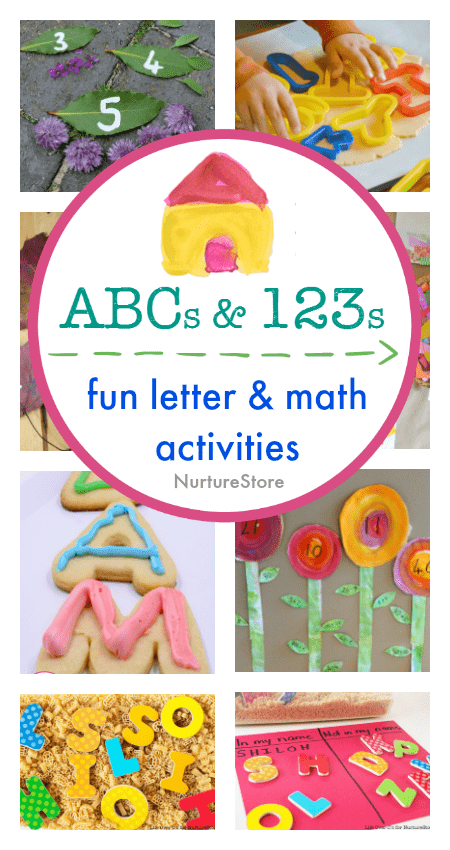 A whole series of fun letter and math activities for young children. Alphabet games, sensory play with letters, simple math centers