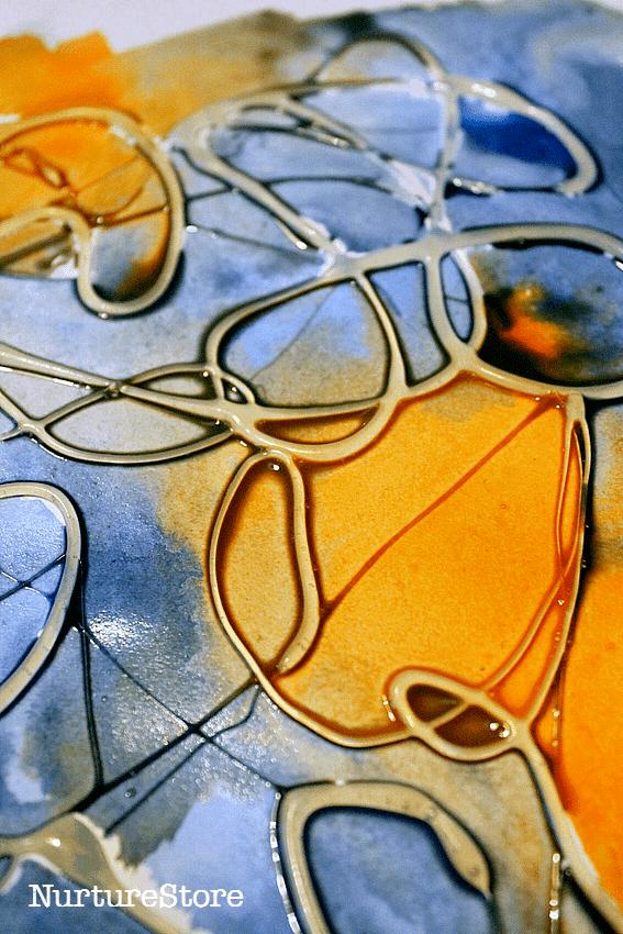 glue watercolor paint process art