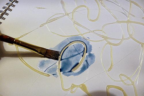 glue watercolour paint resist art
