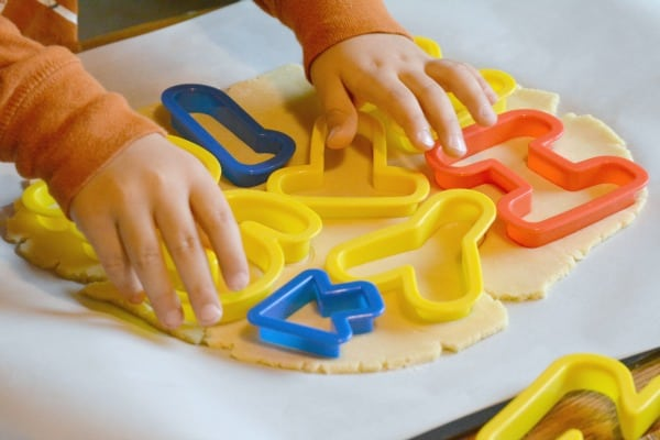 pressing letters into alphabet cookie recipe
